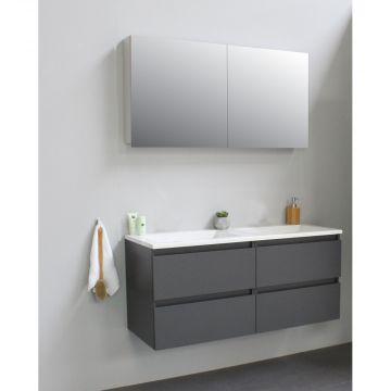 Sub Online wastafelset zonder kraangat met spiegelkast grijs (bxlxh) 120x46x55 cm, mat antraciet / glans wit