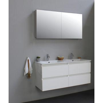Sub Online wastafelset met 2 kraangaten met spiegelkast grijs (bxlxh) 120x46x55 cm, hoogglans wit / glans wit
