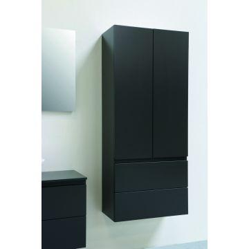 Sub Algemeen hoge kast met 2 laden (onder push to open) en 2 deuren greeploos gelakt 163x70x35 cm, mat antraciet