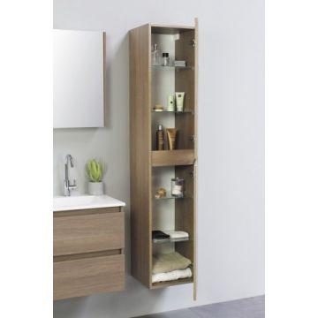 Sub Top hoge kast greeploos houtdecor 2 deurs met 4 glazen leggers 35x35x169 cm, dark oak
