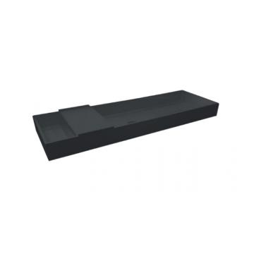 Sub Kuip quartz wastafel zonder kraangat met plug in kleur wastafel 100x40x10 cm, zwart