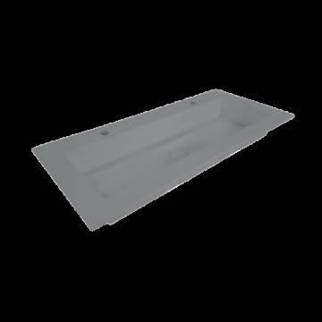 Sub Sluis quartz wastafel zonder kraangat met plug in kleur wastafel 140x45x1 cm, beton
