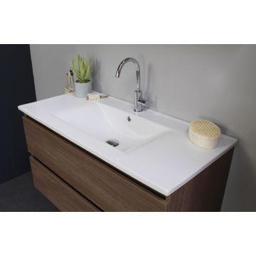 Sub Top porseleinen wastafel enkele bak incl. kraangat 80x46x52 cm, glans wit