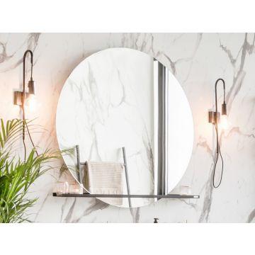 Riverdale spiegel rond op frame met indirecte led rondom en touch schakelaar alu, 100 cm