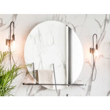 Riverdale spiegel rond op frame met indirecte led rondom en touch schakelaar alu, 70 cm