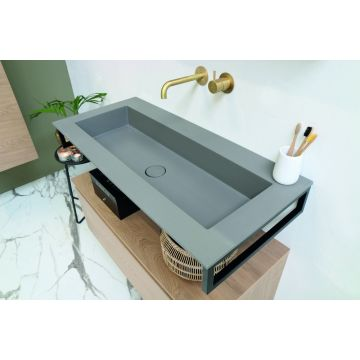 Riverdale Holmes quartz wastafel zonder kraangat inclusief plug 140x1x45 cm, beton