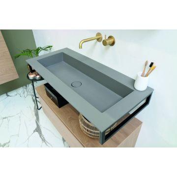 Riverdale Holmes quartz wastafel met 1 kraangat inclusief plug 140x1x45 cm, beton