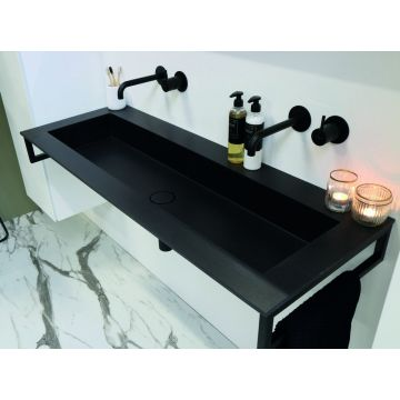 Riverdale Holmes quartz wastafel zonder kraangat inclusief plug 140x45 cm, zwart