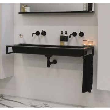 Riverdale Holmes quartz wastafel met 1 kraangat inclusief plug 120x45 cm, zwart