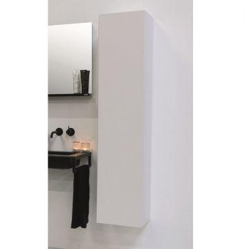 Riverdale hoge kast greeploos hout decor 2 deuren met rechte fronten inclusief 4 glazen planchettes 163x35x35 cm, zilver eiken