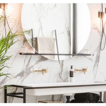 Riverdale stalen planchet t.b.v. ronde spiegel 100x10 cm, mat zwart
