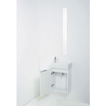 Sub Top porseleinen fontein kraangat links incl onderkast greeploos gelakt 1 deur links, hoogglans wit