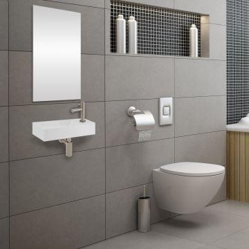 Differnz Solid Surface fonteinset inclusief rvs kraan, wit