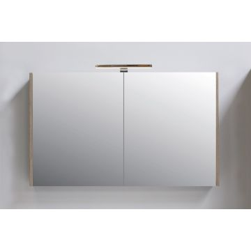 Sub Top spiegelkast met 2 deuren, spiegels aan de binnenzijde van de deuren en opbouw LED-verlichting 60 x 80 x 14 cm, donker eiken