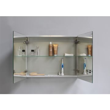 Sub Top spiegelkast met 2 deuren en spiegels aan de binnenzijde van de deuren 60 x 80 x 14 cm, zilver eiken