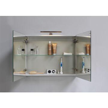 Sub Verlichting dubbel stopcontact tbv spiegelkast, aluminium