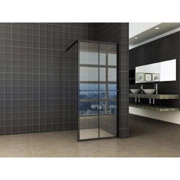 Wiesbaden inloopdouche 120 x 200 cm met zwart raster en handdoekhouder, 10 mm Nano-glas