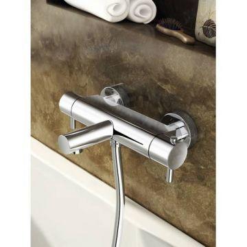 Hotbath Buddy thermostatische 2-hendel badmengkraan met uitloop, geborsteld nikkel
