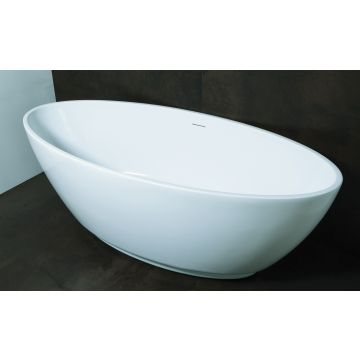 Luca Sanitair Primo ovaal vrijstaand bad inclusief afvoerset chroom 179 x 81 x 60 cm, glanzend wit