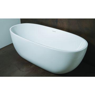 Luca Sanitair Primo ovaal vrijstaand bad inclusief afvoerset chroom 170 x 78 x 61 cm, glanzend wit