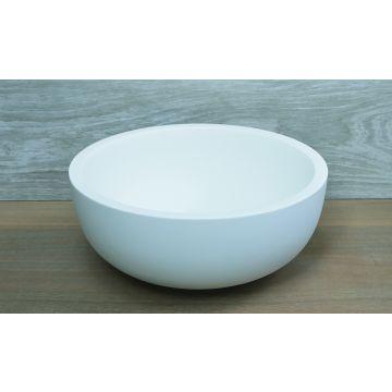 Luca Sanitair Luva ronde opzetwastafel van solid surface 39,5 x 17 cm, mat wit