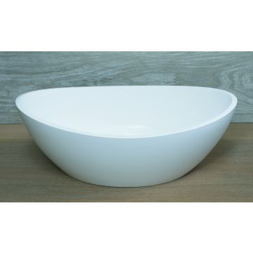 Luca Sanitair Luva ovale opzetwastafel van mineral stone 54,9 x 34 x 17,1 cm, glanzend wit