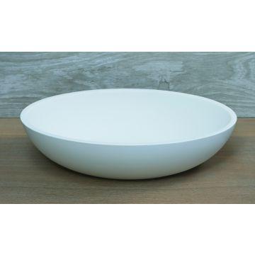 Luca Sanitair Luca ovale opzetwastafel van solid surface 48 x 32,5 x 12 cm, mat wit