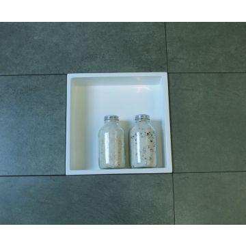 Luca Sanitair Luva inbouwnis/opbouwnis van stone resin 29,5 x 29,5 x 8 cm, glanzend wit