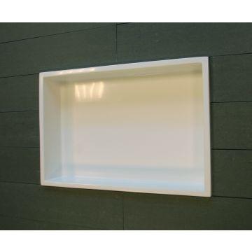 Luca Sanitair Luva inbouwnis/opbouwnis van stone resin 44,5 x 29,5 x 8 cm, glanzend wit
