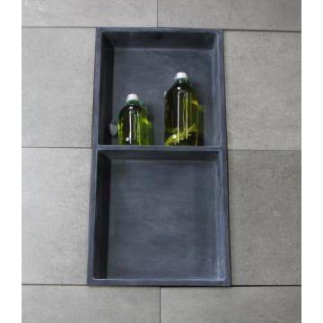 Luca Sanitair Luva inbouwnis/opbouwnis met 2 schappen van stone resin 59,5 x 29,5 x 8 cm, mat antraciet