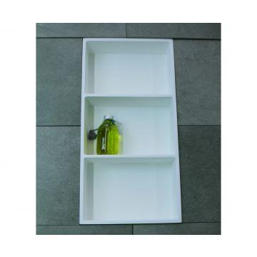Luca Sanitair Luva inbouwnis/opbouwnis met 3 schappen van solid surface 59,5 x 29,5 x 8 cm, mat wit