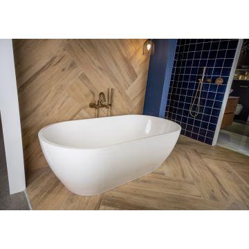 Luca Sanitair Luva vrijstaand bad van mineral stone inclusief afvoerset chroom 160 x 80 x 52 cm, glanzend wit