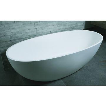 Luca Sanitair Luva vrijstaand bad van solid surface inclusief afvoerset chroom 180 x 80 x 60 cm, mat wit