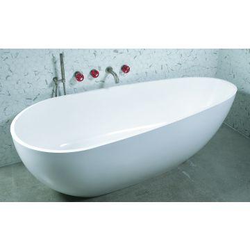 Luca Sanitair Luva vrijstaand bad van mineral stone inclusief afvoerset chroom 185 x 86 x 57 cm, glanzend wit