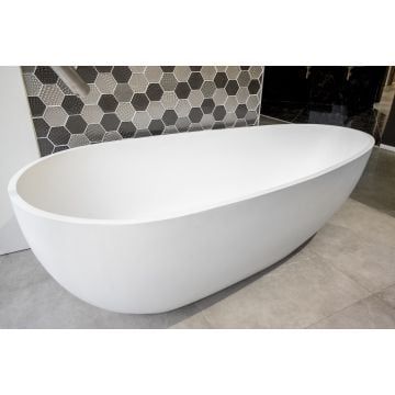Luca Sanitair Luva vrijstaand bad van solid surface inclusief afvoerset chroom 185 x 86 x 57 cm, mat wit