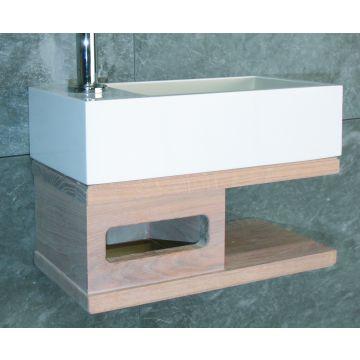 Luca Sanitair Iris fonteinset met handdoekhouder en rechts een open opbergruimte met kraangat 35 x 18,5 x 9 cm, mat wit