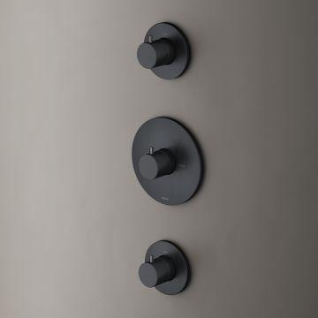 Hotbath Cobber afbouwdeel inbouwthermostaat met 2 stopkranen, mat zwart