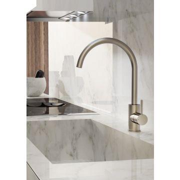 Hotbath Cobber keukenkraan 36 cm hoog met draaibare uitloop van 22 cm, mat wit