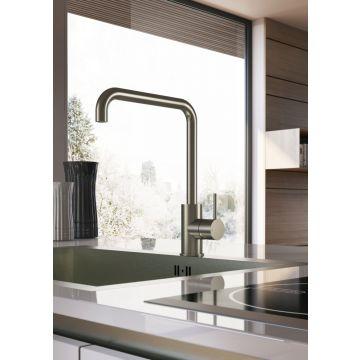 Hotbath Cobber keukenkraan 31,5 cm hoog met draaibare u-uitloop van 23 cm, geborsteld nikkel