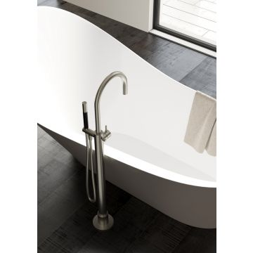 Hotbath Cobber vrijstaande badmengkraan 105,5 cm hoog met gebogen uitloop van 22,5 cm, geborsteld nikkel