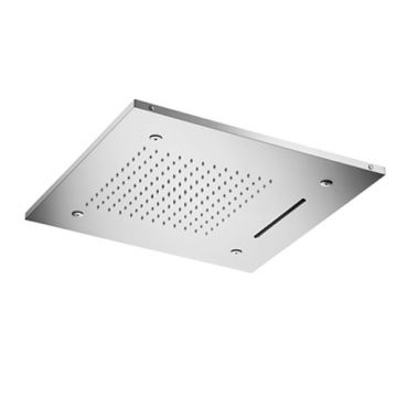 Hotbath Mate hoofddouche Triple met LEDs 50x50 vierkant, geborsteld nikkel