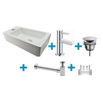 Wiesbaden Mini-Rhea One Pack fontein links met Amador fonteinkraan, wit/chroom