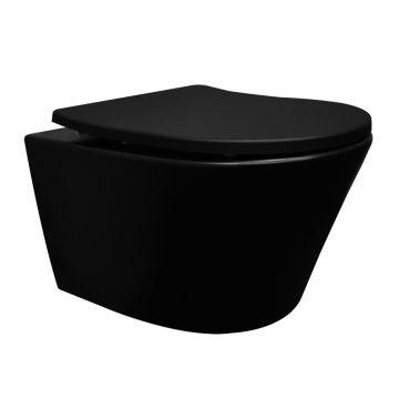 Wiesbaden Vesta rimless hangend toilet met softclose toiletzitting, mat zwart