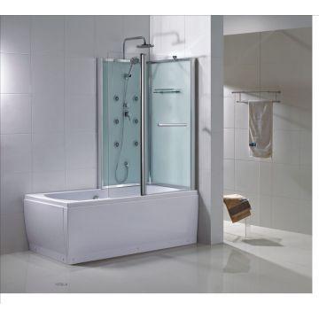 Wiesbaden Vanity bad-douche combinatie rechts met veiligheidsglas 170 x 85 x 218 cm, chroom