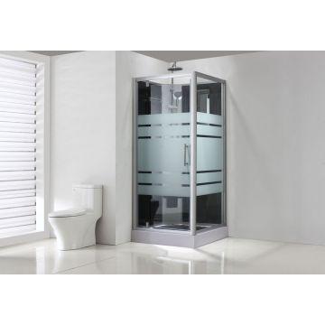 Sub complete douchecabine met draaideur 90x90x218 cm, aluminium/glas
