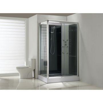 Sub complete douchecabine met schuifdeur rechts 120 x 90 x 225 cm, helder glas / zwart glas