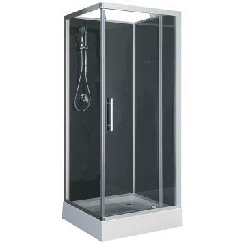 Sub Domino complete douchecabine met draaideur 90 x 90 x 210 cm, helder glas / zwart glas