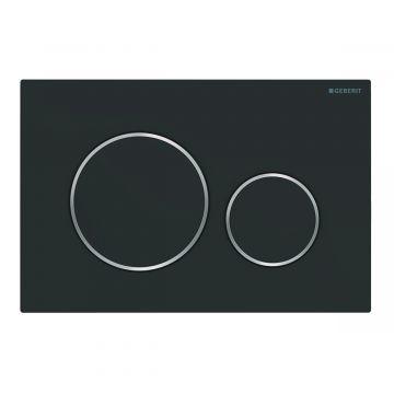 Geberit Sigma20 bedieningsplaat, plaat matzwart-gelakt, knoppen matzwart-gelakt, ringen glans-chroomkleurig