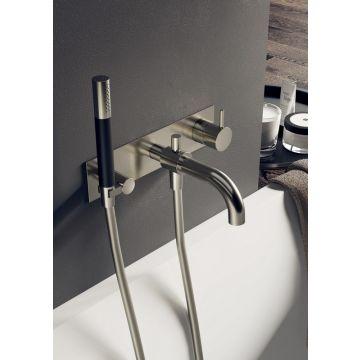 Hotbath Cobber afbouwdeel inbouw douche-/badmengkraan met automatische omstelinrichting, doucheslang en handdouche, geborsteld nikkel