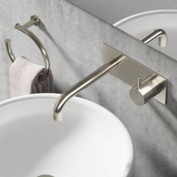 Hotbath Cobber afbouwdeel inbouw wastafelmengkraan met achterplaat en 18 cm uitloop, geborsteld nikkel